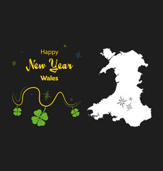 Happy new year theme with map of wales vector