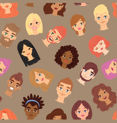human man and woman head face icons vector image vector image