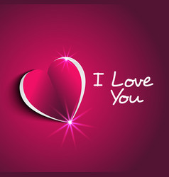 i love you message with modern paper heart shape vector image
