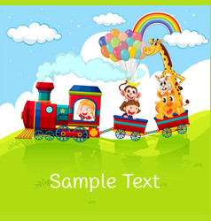 kids and animals on train with sample text on vector image