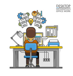 Man sitting at desktop and working on the computer vector