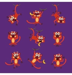 Monkeys in Different Poses vector image