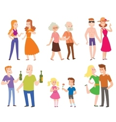 People couples men women and old men with boys vector
