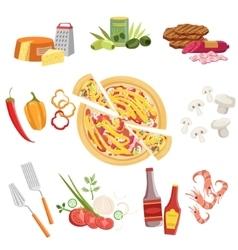 Pizza Ingredients And Cooking Utensils Set vector image vector image