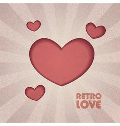 retro valentine heart vector image vector image