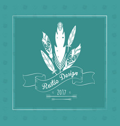 Rustic feather floral vintage decoration green vector