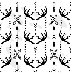 seamless pattern with of antlers and arrows vector image vector image