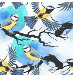 Seamless tomtit and watercolor blots vector image vector image