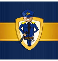 Service police officer man cartoon shield symbol vector image
