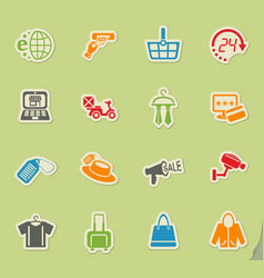 Shopping and e-commerce icon set vector