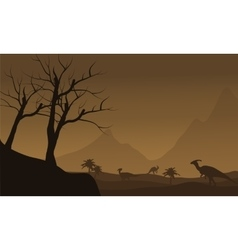 Silhouette of many dinosaur in fields vector image