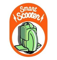 Smart self balancing electric scooter emblem vector