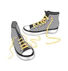 Sneakers isolated patterned fabric fashion sport vector