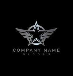 star wings design black background vector image vector image