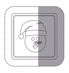 Sticker of silhouette frame of snowman face vector