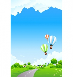 summer landscape with balloon vector image vector image