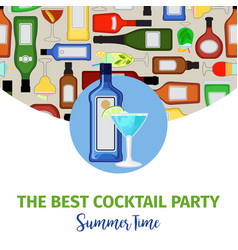 summer time banner for cocktail bar vector image vector image