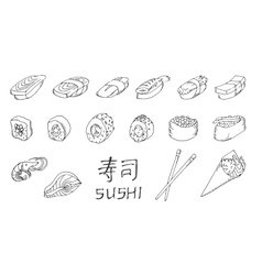 Sushi set hand drawing vector image