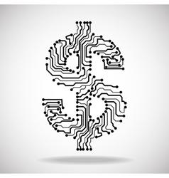 Symbol of dollar Circuit board vector image vector image