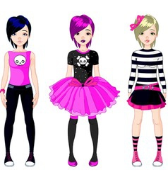 Three emo stile girls vector
