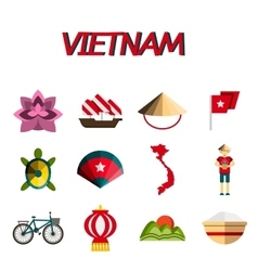Vietnam flat icon set vector