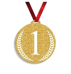 Art Golden Medal Icon Sign First Place vector image