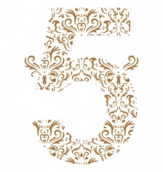 Floral number 5 vector