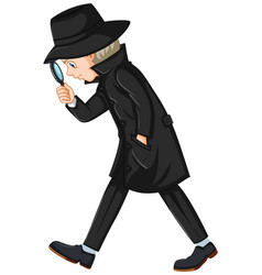Detective in black overcoat holding magnifying vector