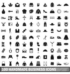 100 handmade business icons set simple style vector