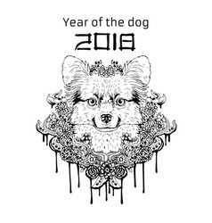 2018 zodiac dog new year design christmas vector image vector image