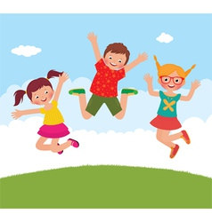 Funny jumping children vector
