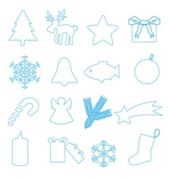 Simple blue outline merry christmas icons eps10 vector