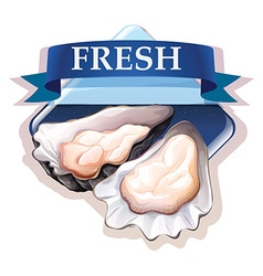 Fresh oysters with text vector