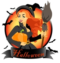 Witch with pumpkin and broomstick vector