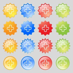 Plus icon sign big set of 16 colorful modern vector
