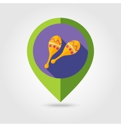 Maracas flat mapping pin icon with long shadow vector