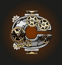C letter with gears vector