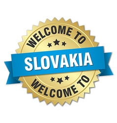 Slovakia 3d gold badge with blue ribbon vector