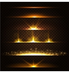Abstract lens flares collection glowing stars vector