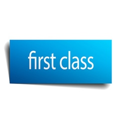 First class blue paper sign isolated on white vector