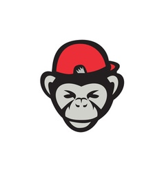 Chimpanzee head baseball cap retro vector