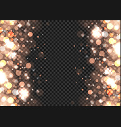 abstract bronze bokeh lights on transparent vector image