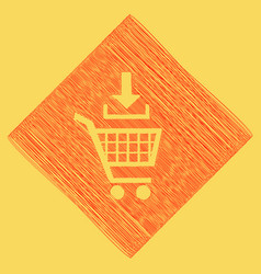 Add to shopping cart sign red scribble vector