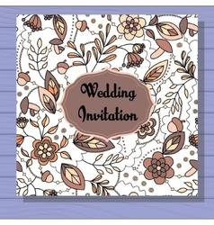 Autumn wedding invitation brown on wooden vector