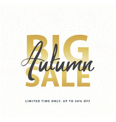 Big autumn sale gold sign in white golden glitter vector