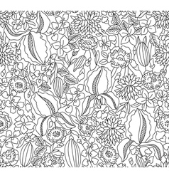 Black and white floral sketch seamless vector