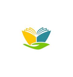 book abstract hand education logo vector image