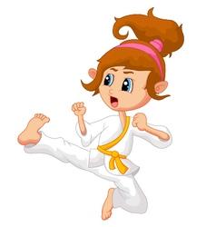 Cartoon Girl playing karate vector image