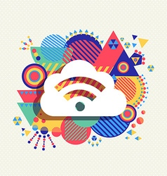 Cloud computing icon vibrant colors vector image