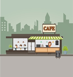 Coffee shop concept and create character vector image vector image